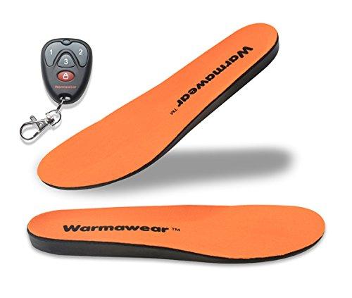 Warmawear Plantillas térmicas inalámbricas de lujo con batería recargable impermeable con control remoto, diseño de zapato ajustable y cálido y eficiente de energía