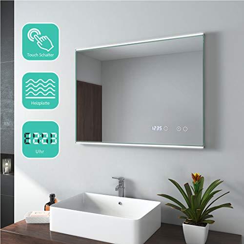 EMKE badkamerspiegel met verlichting 80x60cm LED badkamerspiegel wandspiegel met aanraakschakelaar, digitale klok, anticondens