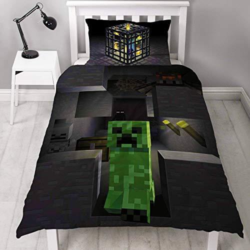 Minecraft Wendebettwäsche-Set, Polyester-Baumwoll-Mischung, Einzelbett