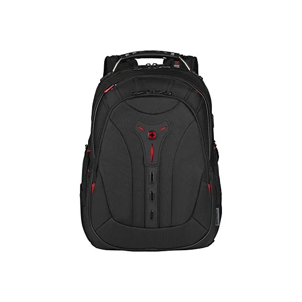 """41Cjg8cBYGL. SS600  - WENGER 606492 Pegasus Ballistic Deluxe 14""""/16"""" Expandable Laptop Backpack, Padded Laptop Compartment with SmartCharge USB Port in Black {25 litres}"""