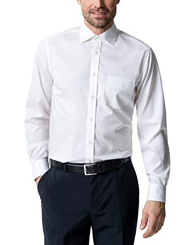 Walbusch Herren Hemd Business Naturstretch einfarbig Weiß 45-46 - Langarm