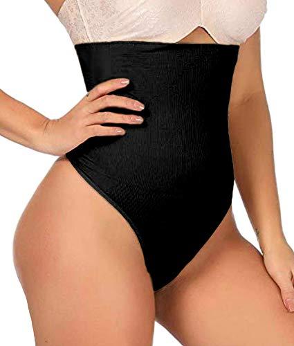 ShaperQueen 102 Thong - Womens Waist Cincher Body Shaper Trainer High-Waisted Girdle Faja Tummy Control Panty Shapewear 3XL, Black