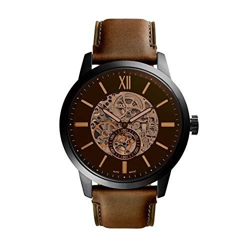 Fossil Herren Skeleton Automatik Uhr mit Leder Armband ME3155