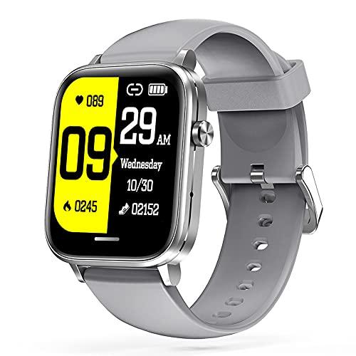 LSQ 2021 Original H7 Smart Watch Men Bluetooth Call Siri Voice Cuerpo Temperatura Música Juego DIY Face Srough Prestion Hombre Reloj de Pulsera,Gris