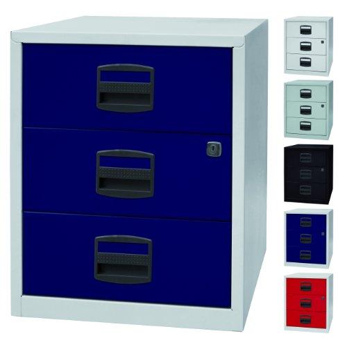 PFA bijzetkast, mobiel kantoor, ladekast op wieltjes met 3 metalen schuifladen, afsluitbaar, 5 kleuren Lichtgrau/Oxfordblau