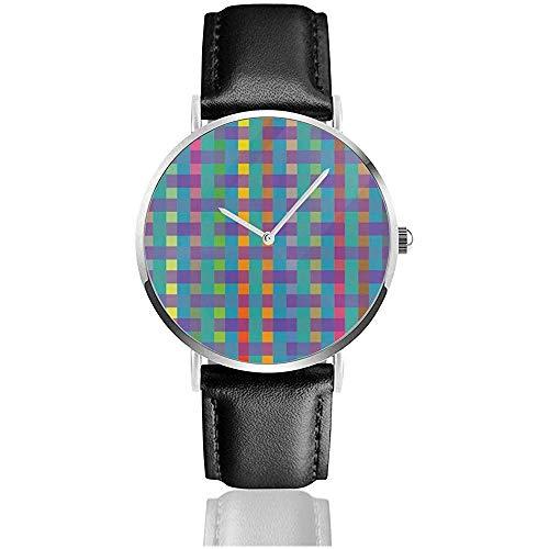 Plaid Aquamarine Beauty Fashion Herrenmode Sport Minimalist Armbanduhr Lederband Uhr