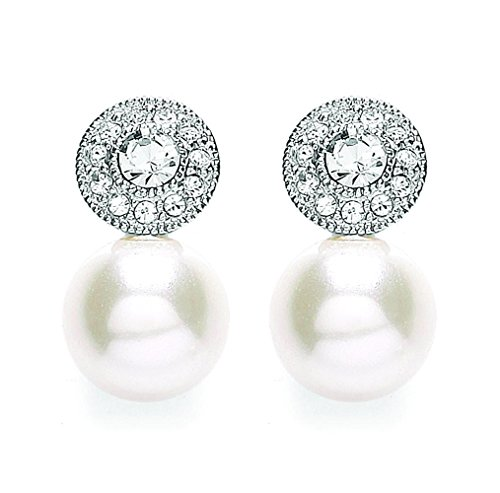 Buckley London Damen-Ohrstecker Messing rhodiniert Kristall weiß Rundschliff Synthetische Perle Creme - 430020003