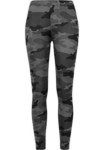Urban Classics Mujer Leggings Camuflaje, Tanto Para Vestir O Como Para Hacer Deporte, Mallas Para Yoga, En Tonos, Talla S, Negro (Dark Camo)