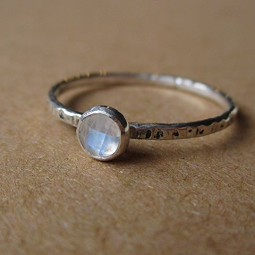 Rose-Cut Rainbow Moonstone Stacking Ring. Sterling and Fine Silver. Handmade in Michigan. Alternate to a Diamond April Birthstone Ring. Mom's Stack able Dainty Ring. -  Lunasa Designs