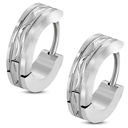 Bungsa Diamantschliff Creolen Satin Finish silber 4mm - 1 Paar Klappcreolen Edelstahl (Ohrringe Ohrstecker Ohrhänger Huggie Ohrschmuck Ohrklemmen Damen Frauen Herren Mode)