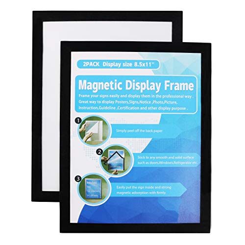 MFoffice Window Sign Holder - Plastic Picture Frames 8.5x11'' - Double Sided and Adhesive for Wall/Door/Refrigerator/Cupboard Display Frame,Black,Pack of 2