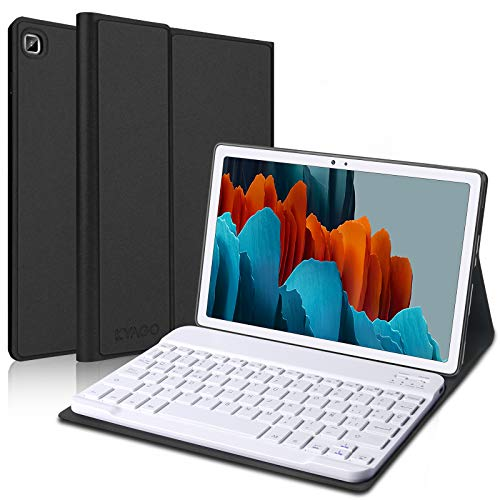 KVAGO Teclado Español para Samsung Galaxy Tab A7 10.4 Pulgadas 2020 SM-T505/T500/T507, Ultra Slim Funda con Bluetooth Wireless Teclado,Inteligente Carcasa con Auto-Sueño/Estela,Negro