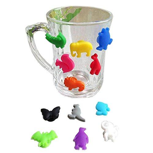 KaariFirefly - Set di 12 bicchieri da vino in silicone con ventosa a forma di animale, per bicchieri di vino, bevande, 12