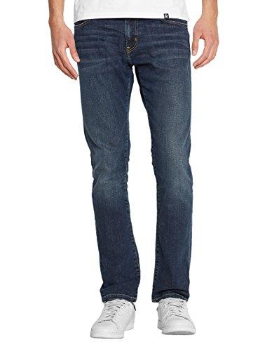 Jeans Slim Tapered Fit Stretch Rebel Spicer Bleu Naturel Foncé Délavé pour Homme -