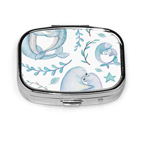 LINPM Pill Organizer Case, romantische Muster Wale Dichtungen tragbare Pillendose kleine Pille Container für Geldbörse oder Tasche, quadratische Pillendose (2 Fächer)
