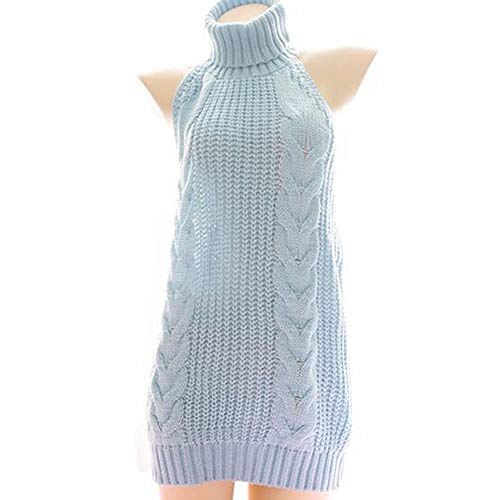 """Material :The sweater made of Acrylic which is stretchy and comfortable material. Size :Free size,bust:36""""""""collar neck:7""""""""length:31""""""""(For size XS, S, M) """" Feature :Backless,sleeveless,Knitted,halter neck,above thigh length,solid color Occasions: Suit..."""