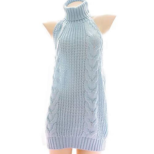 YOMORIO Womens Anime Virgin Killer Sweater Japanese Turtleneck Knitted Underwear Backless Pullover (Blue)