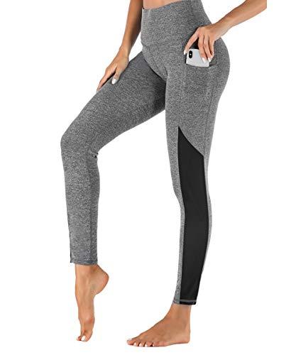 Yaavii Damen Sport Leggings mit Taschen Blickdicht Lange Sporthose Hohe Taille Yoga Hose mit Mesh-Einsätzen für Workout Gym Grau M