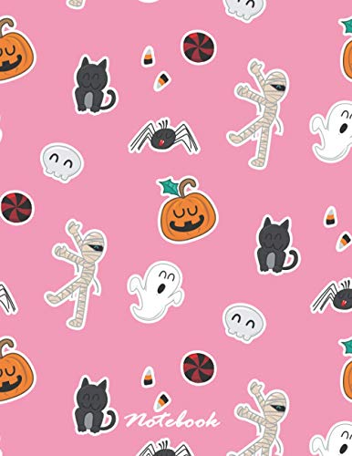 Notebook: Halloween icons pink cover and Lined pages, Extra large (8.5 x 11) inches, 110 pages, White paper (Halloween icons pink notebook, Band 4)