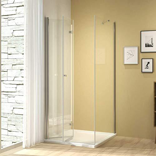Duschkabine 80x90cm Duschabtrennung Duschtür mit Seitenwand, Duschwand Glas Duschtrennwand Falttür 6mm ESG Sicherheitsglas ohne Duschtasse Höhe 185cm