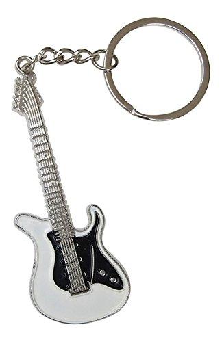 Llavero de Acero Plateado diseño de Guitarra eléctrica. (Blanco)