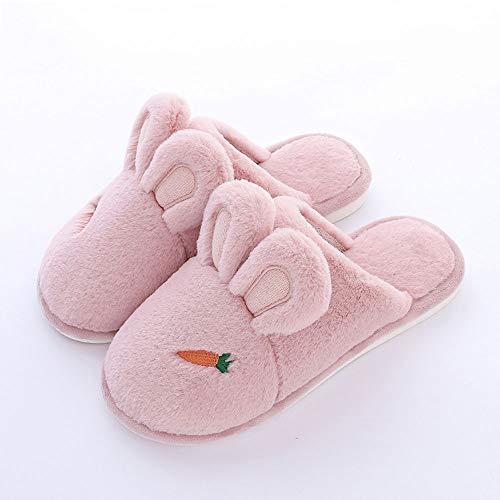 YLL Zapatillas de algodón Femenino Lindo Conejo de Dibujos Animados Peludo del otoño y el Invierno Inicio Antideslizante Suave Cubierta Inferior Pareja casa de Invierno Zapatillas Calientes