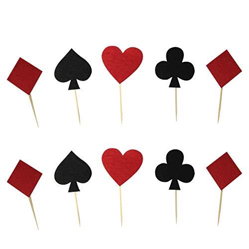BESTOYARD Kuchen Topper Spielkarten Poker Kreuz Herz Pik Karo Form Kuchendeckel Kuchendeko für Geburtstagsfeier Casino Poker Party 20 Stück