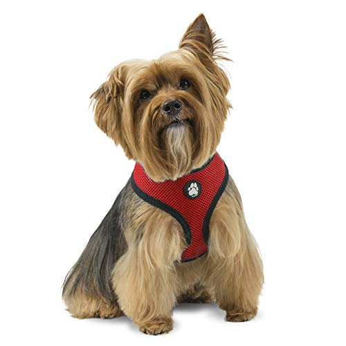 Furhaven Pet Dog Collar - Adjustable Padded Lightweight Breathable Mesh Pet Harness Dog Walking Vest for Dogs and Cats, Red, Medium
