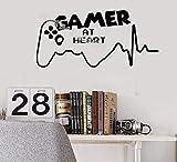 Gamer at Heart Citations Autocollant Mural Jeu Vidéo Salle Sticker Adolescents Salle De Jeux Décor Garçon Chambre Salon Affiche 56X30CM
