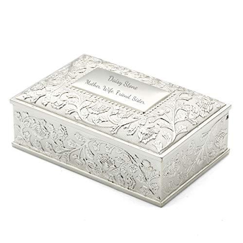 OnePlace Gifts - Joyero de plata personalizado, diseño de girasol, rectangular con flores, para damas de honor, dieciséis