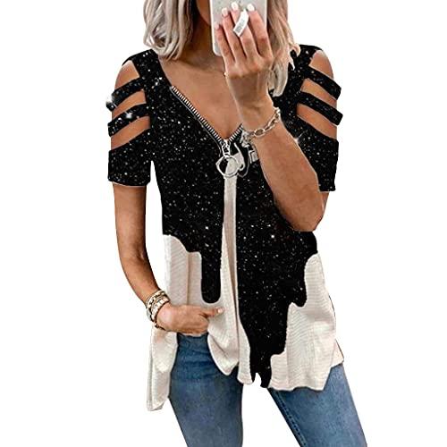 Damen Blusen und Tuniken Elegant, Sexy V-Ausschnitt Lustig Bunt Leopard Esel Tie-Dye Sommer Tunika Oberteile mit Reißverschluss Frauen Retro Schulterfrei Kurzarm T-Shirt Blusen Hemd Top (17,XXL)