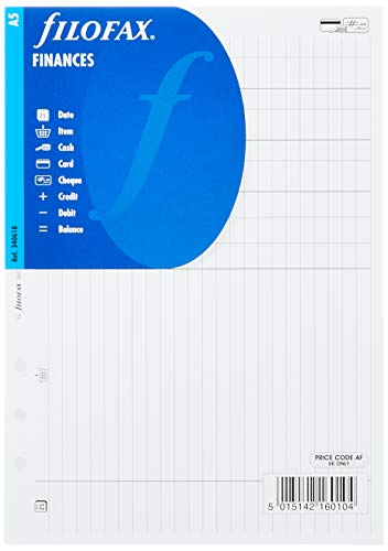 Filofax 340618 - Hoja de contabilidad (A5, 25 hojas), color blanco