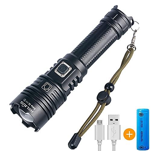 Helius LED Taschenlampe, Extrem Hell 4500 Lumen CREE XHP70 LED USB Wiederaufladbare Taschenlampen, IPX67 Wasserdicht, Aufladbar Fackel für Camping Wandern und Notfälle (Inklusive 1 x 21700 Akku)