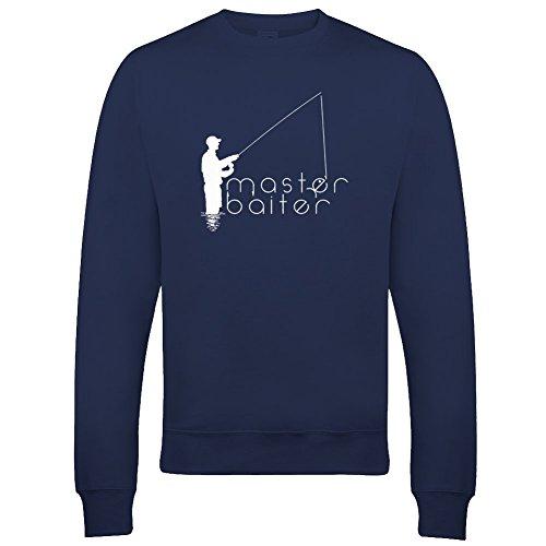 Ice-Tees Herren Sweatshirt Master Baiter Rude, Crude Fishing Dude Gr. Large, navy
