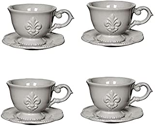 A&B Home Set of 4 Ceramic Fleur-de-Lis Cup Saucer Set White