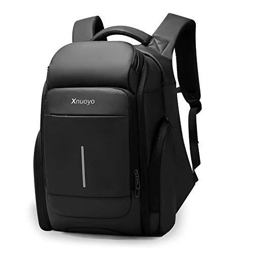 Xnuoyo Wasserdicht Laptop Rucksack 15.6 Zoll, TSA-Friendly Multifunktion Business Rucksack Notebook Großer Daypack mit USB Ladeanschluss für Arbeit Reisen Schule Frau Männer (Black-15.6inch)