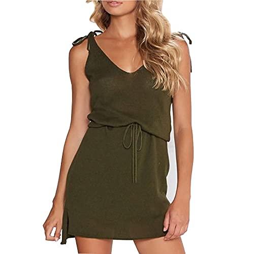 Liably Vestido ajustado con cuello en V para mujer, de un solo color, sin mangas, con lazo, irregular, de moda, informal, minivestido rosa, negro, verde militar Verde militar. M