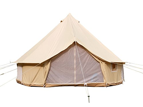 Safaricamping outdoor four-season family camping waterproof bell tent with zipped groundsheet (beige cotton canvas tent, diameter3m)