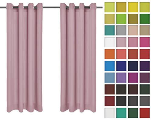 Rollmayer Vorhänge Schal mit Ösen Kollektion Vivid (Pastellrosa 50, 135x150 cm - BxH) Blickdicht Uni einfarbig Gardinen Schal für Schlafzimmer Kinderzimmer Wohnzimmer