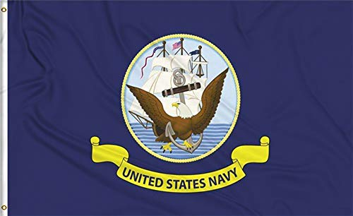Aimto 3x5 FT US Navy Flag - Double Sided Bright Colors and Anti-Fading Materials - USA Naval Military Flags Polyester Canvas and Brass Buttonhole - Quality Assurance