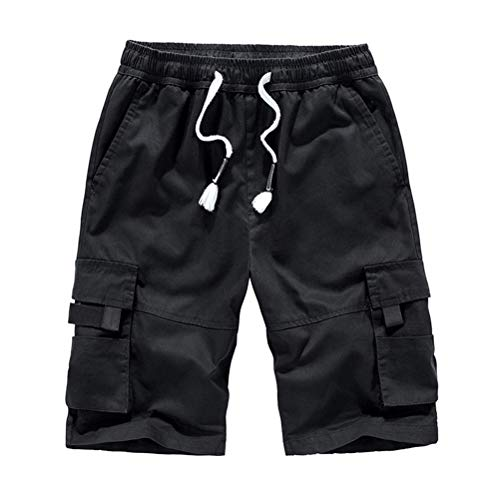 IDEALSANXUN Men's Elastic Waist Cargo Shorts with Drawstring (Large, Black)
