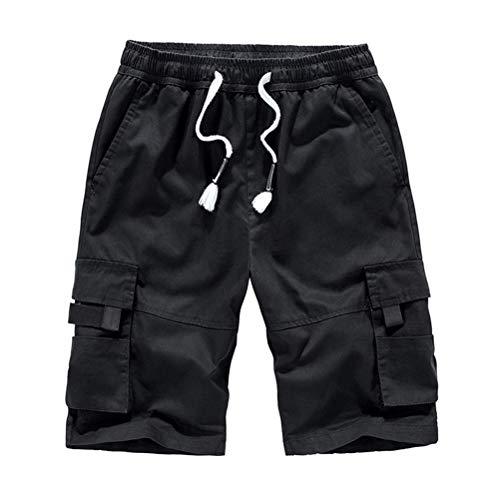 IDEALSANXUN Men's Elastic Waist Cargo Shorts with Drawstring (Large, Black)