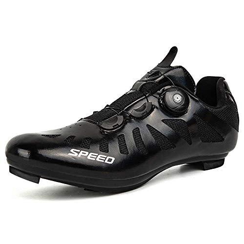Calzado De Bicicleta De Montaña para Hombre Y Calzado para Bicicleta De Interior Resistente Al Desgaste (46,Negro)