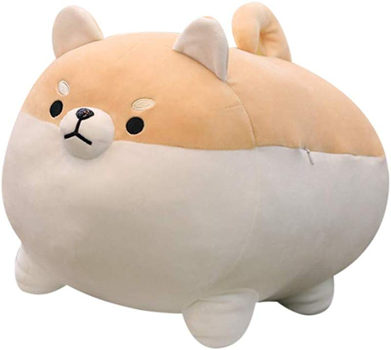 CMrtew Chubby Cute Dog Doll Round Anime Shiba Inu Plush Stuffed Sotf Pillow Doll Cartoon Doggo Cute Shiba Soft Toy Brown 50cm