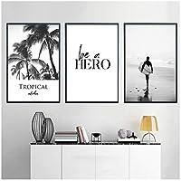 ウォールアート、海の波の風景キャンバスポスター北欧プリントビーチトロピカルパーム絵画リビングルームのモダンな写真フレームなし