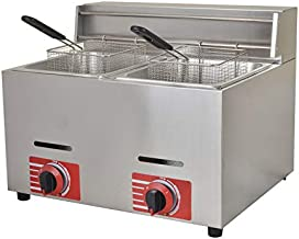 Commercial LPG Gas Fryer Stainless Steel Countertop Deep Fryer with 2 Baskets