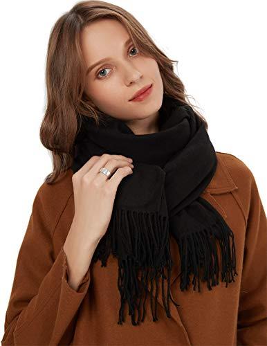 MaaMgic Schal Damen Warm Herbst unifarben Baumwolle mit quasten/fransen, 40+ Farben Einfarbig & Kariert Pashmina xl Schals Stola MEHRWEG Black Schwarz
