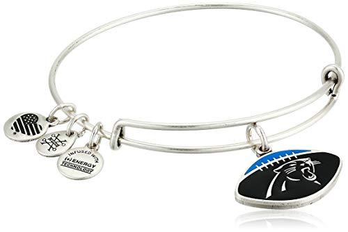 Alex and Ani Women's Color Infusion Carolina Panthers Football II EWB Bracelet, Rafaelian Silver, Expandable