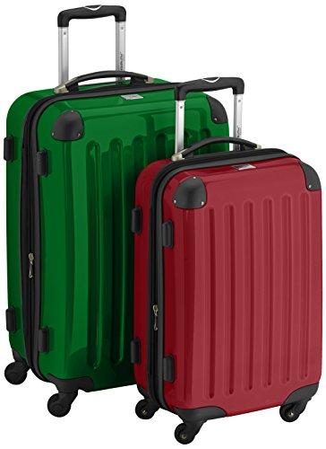 HAUPTSTADTKOFFER - Alex - 2er Koffer-Set Hartschale glänzend, 65 cm + 55 cm, 74 Liter + 42 Liter, Gruen-Rot