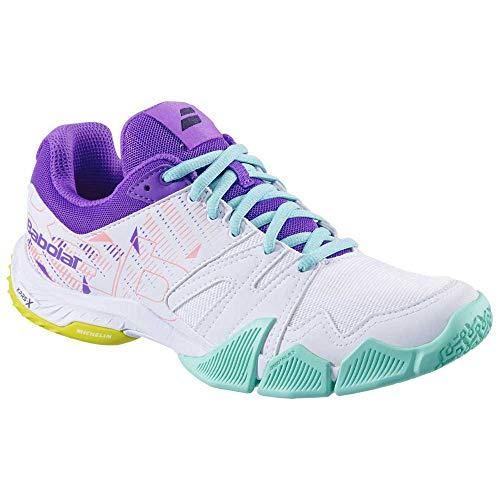 BABOLAT PULSA Women, Zapatillas de Tenis Mujer, White/Royal Lilac, 38 EU